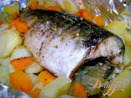 Рецепт Скумбрия с овощами, запечённая в фольге