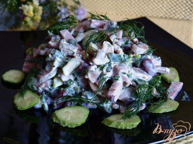 Рецепт Салат с ветчиной, фасолью и шампиньонами