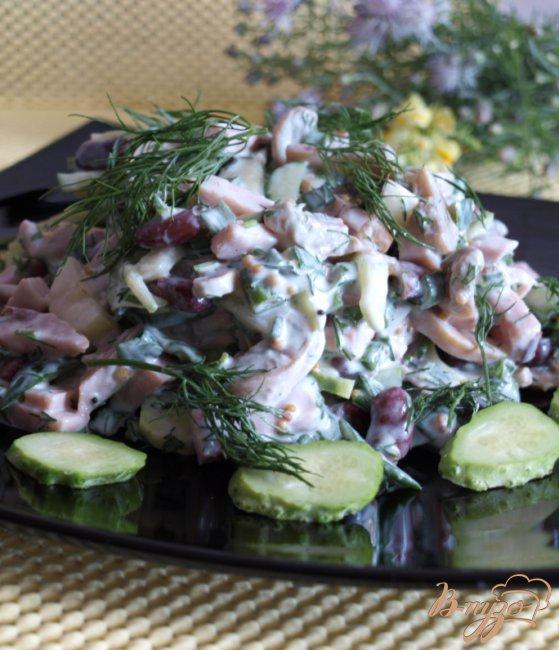 салат с фасолью шампиньонами рецепт с фото