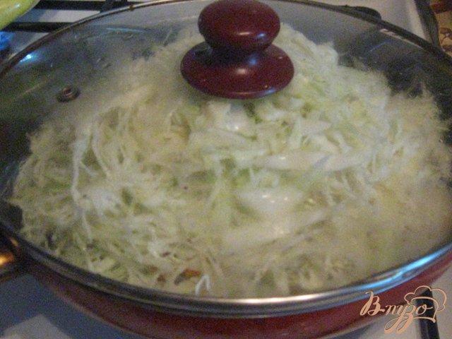 Фото приготовление рецепта: Тушеная капуста с болгарским перцем и сосисками шаг №2
