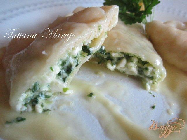 Фото приготовление рецепта: Шoсоны с малосольной брынзой и шпинатом шаг №5