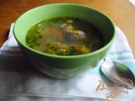 фото рецепта: Суп с фрикадельками и зелёным горошком