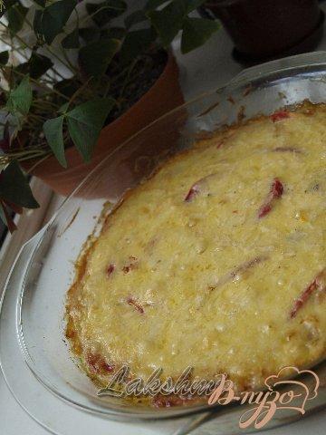 Помидоры с кабачками в сырной заливке