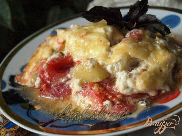 фото рецепта: Помидоры с кабачками в сырной заливке