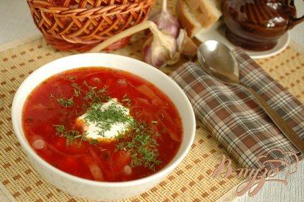 фото рецепта: Борщ постный с фасолью