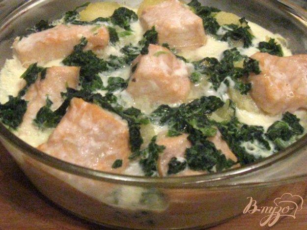 Рецепт Запеканка из семги с картофелем и шпинатом