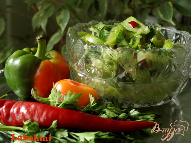 Рецепт Острый салат-закуска из зелёных помидоров