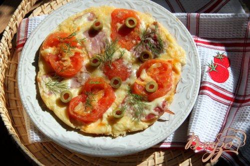 Пирог-пицца  на сковороде за считанные минуты