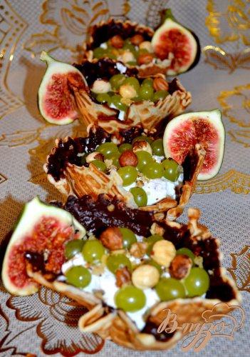 Корзиночки с виноградом и инжиром.
