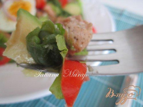 Фасолевый салат с семгой