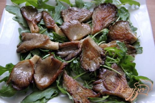Тёплый салат с рукколой и вешенками