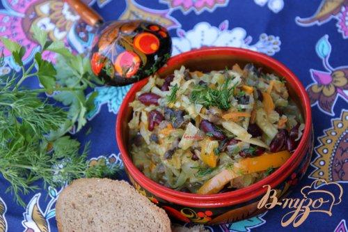 Овощное рагу с грибами и фасолью