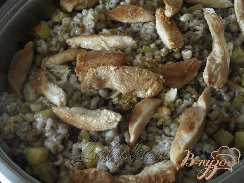 Орзотто с грибами, кабачками и курицей по-домашнему