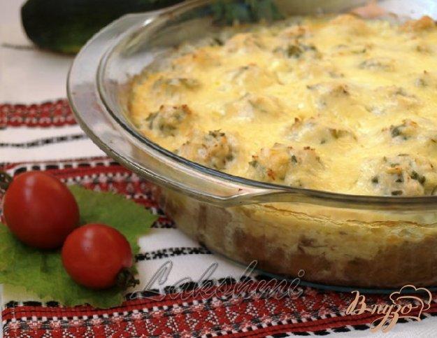 Рецепт Кабачковая запеканка с куриными тефтелями