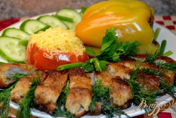 Рецепт Фаршированный перец и помидор грибами.