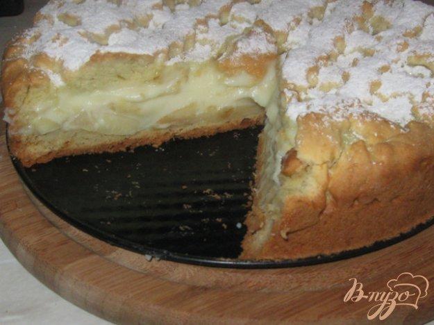 """Рецепт Пирог с яблоками и заварным кремом """"Нежность"""""""