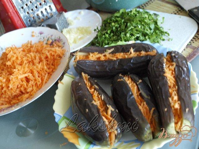 Фото приготовление рецепта: Квашенные баклажаны с чесноком и морковью шаг №2