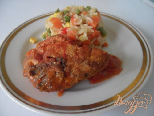 Курица в томате с мексиканским рисом