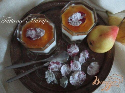 Творожный десерт с грушами и медом