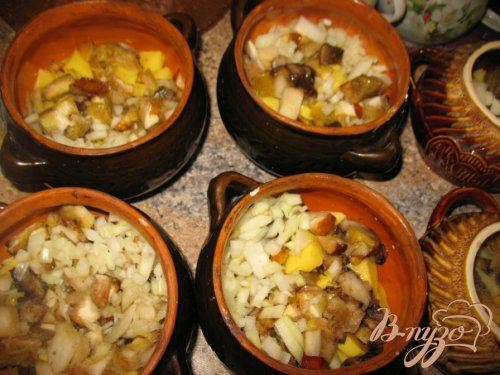 Грибы с картошкой в горшочке.