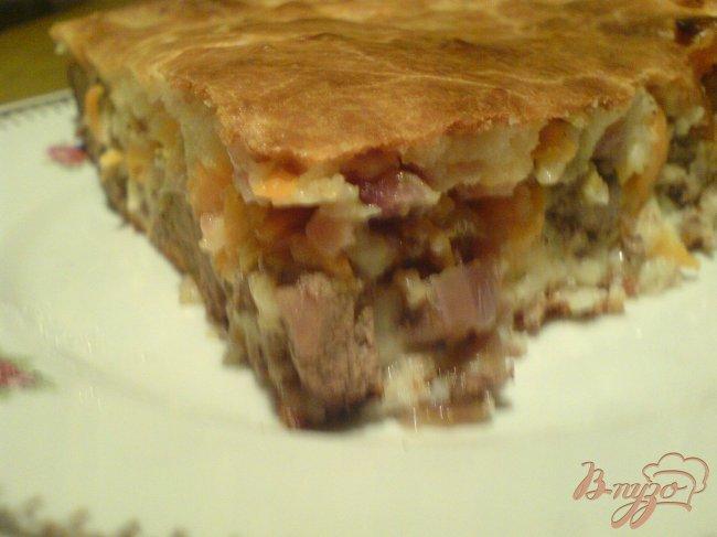 Фото приготовление рецепта: Пирог с куриной печенью шаг №11