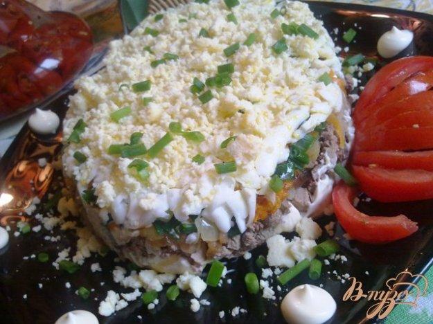 Рецепт Слоеный печеночный салатик