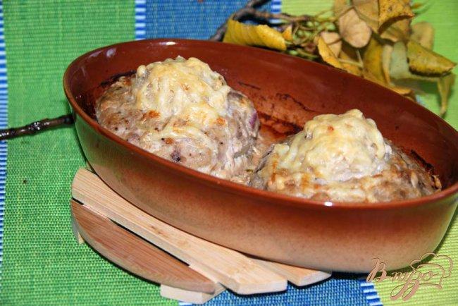 Фото приготовление рецепта: Гнёзда из фарша с рисом и грибами шаг №7