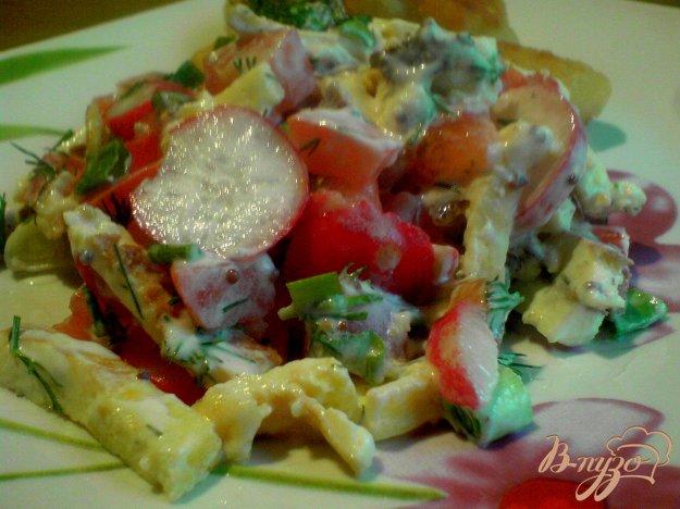 Рецепт Салат из редиса и сырного омлета.
