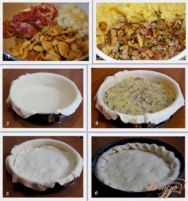Фото приготовление рецепта: Пирог с начинкой из картофеля, грибов и бекона шаг №2