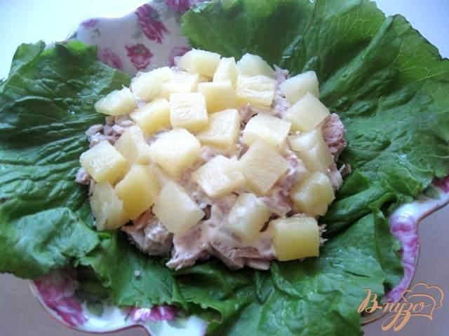 рецепт салат индейка и ананасы