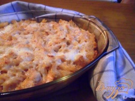 Рецепт Запеканка из макарон с индейкой в сырном соусе.