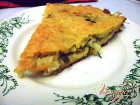 фото рецепта: Заливной пирог с зелёным луком и яйцом