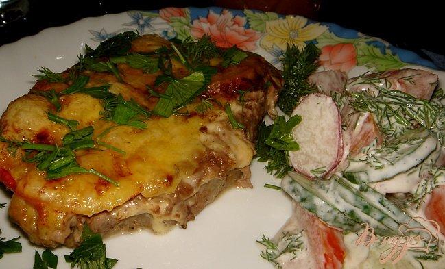 Рецепт мяса под шубой с помидорами