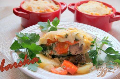 Гратин из свинины, картофеля и моркови