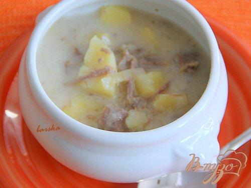 Жаркое из  картофеля, варенного мяса в сливочном соусе