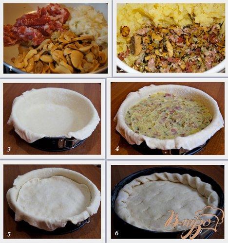 Пирог с начинкой из картофеля, грибов и бекона