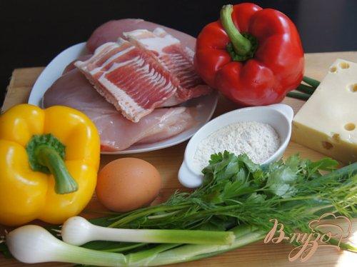 Куриные котлеты с болгарским перцем и беконом