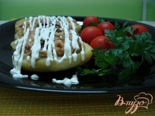Картофель фаршированный шампиньонами