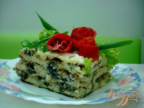 Кабачковый тортик с грибами