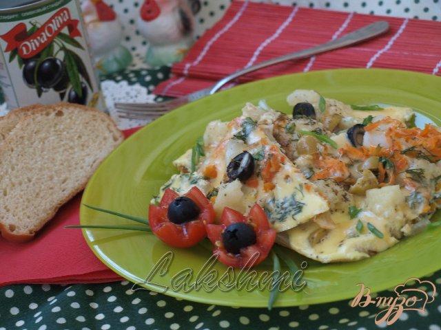 Фото приготовление рецепта: Омлет  с цветной капустой по-средиземноморски шаг №5