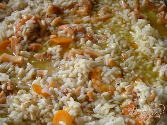 Рецепт Паэлья из риса и перловки с морепродуктами