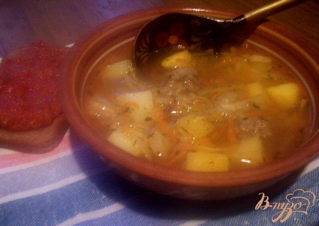 Фото приготовление рецепта: Крестьянский суп с фрикадельками шаг №8
