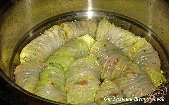 Фото приготовление рецепта: Диетические голубцы в пекинской капусте шаг №6