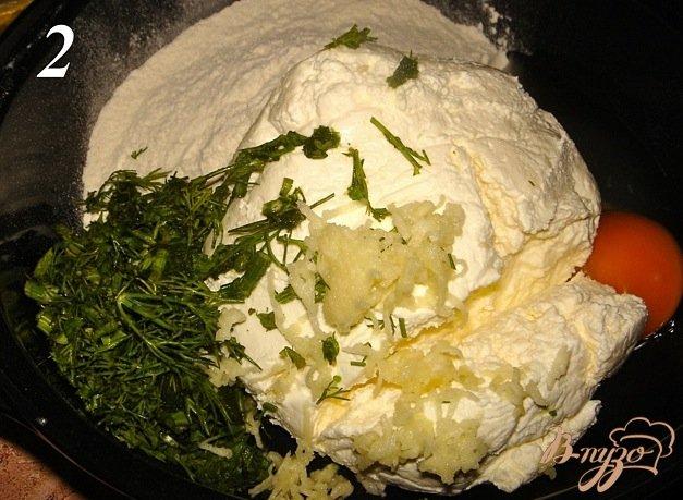 Фото приготовление рецепта: Творожные крокеты с укропом и чесноком шаг №2