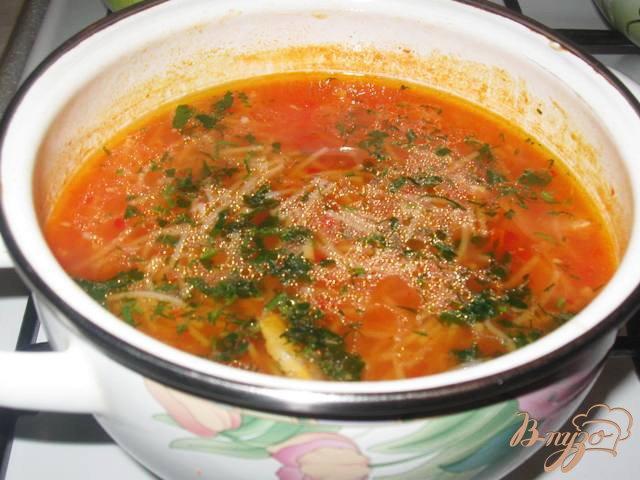 Фото приготовление рецепта: Томатный суп с курицей и вермишелью по-турецки шаг №7
