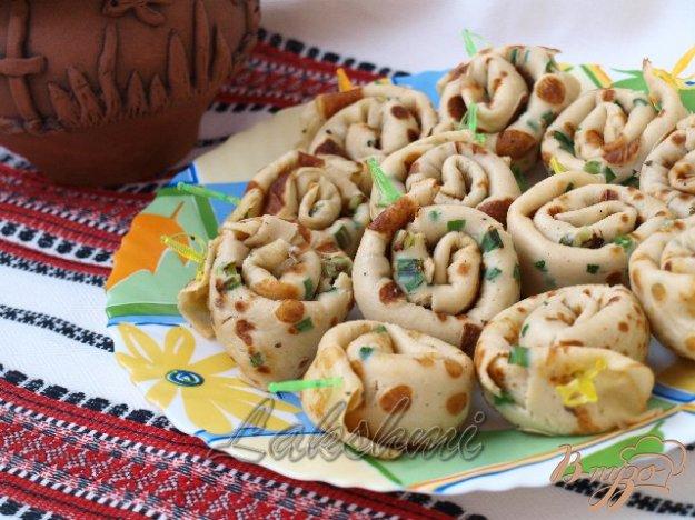 Рецепт Закусочные улитки из блинчиков с грибной начинкой