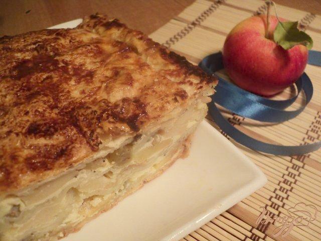 Фото приготовление рецепта: Пирог из лаваша с яблоками и виноградом шаг №9