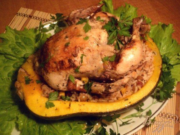 Рецепт Курица, запеченная в тыкве