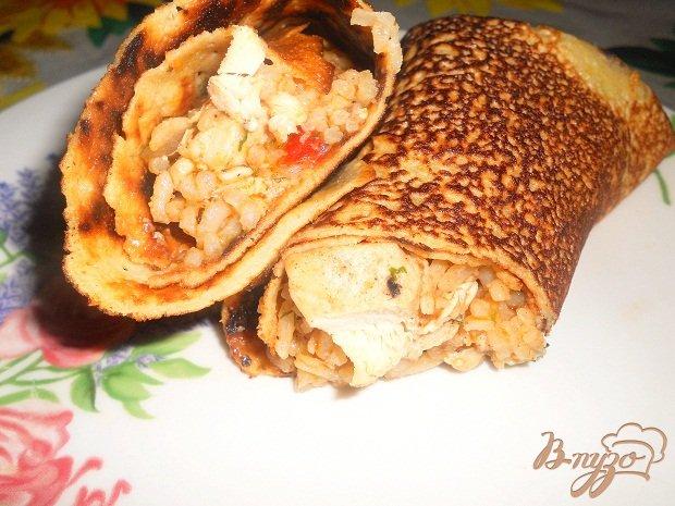 Рецепт Фаршированные блины с курицей и рисом
