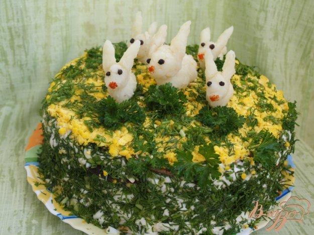 фото рецепта: Печёночный торт с грибами